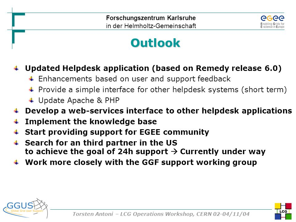 Forschungszentrum Karlsruhe in der Helmholtz-Gemeinschaft Torsten Antoni – LCG Operations Workshop, CERN 02-04/11/04 Updated Helpdesk application (bas