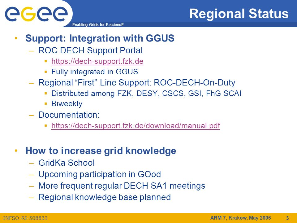 Enabling Grids for E-sciencE INFSO-RI-508833 ARM 7, Krakow, May 2006 3 Regional Status Support: Integration with GGUS –ROC DECH Support Portal https://dech-support.fzk.de Fully integrated in GGUS –Regional First Line Support: ROC-DECH-On-Duty Distributed among FZK, DESY, CSCS, GSI, FhG SCAI Biweekly –Documentation: https://dech-support.fzk.de/download/manual.pdf How to increase grid knowledge –GridKa School –Upcoming participation in GOod –More frequent regular DECH SA1 meetings –Regional knowledge base planned
