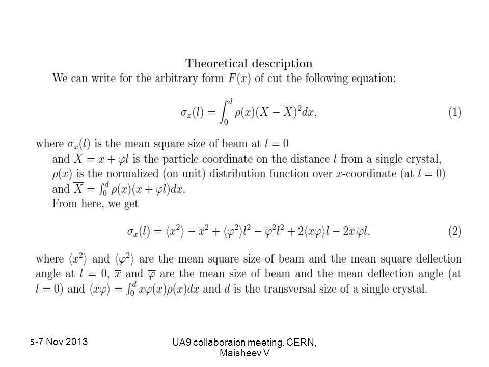 5-7 Nov 2013UA9 collaboraion meeting. CERN, Maisheev V