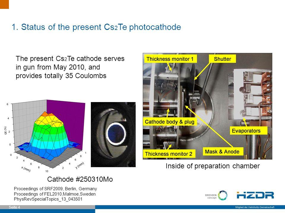 Seite 4 1. Status of the present Cs 2 Te photocathode Proceedings of SRF2009, Berlin, Germany Proceedings of FEL2010,Malmoe,Sweden PhysRevSpecialTopic