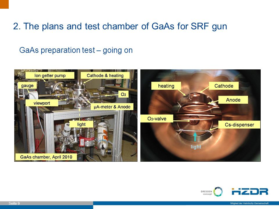 Seite 9 GaAs preparation test – going on 2. The plans and test chamber of GaAs for SRF gun