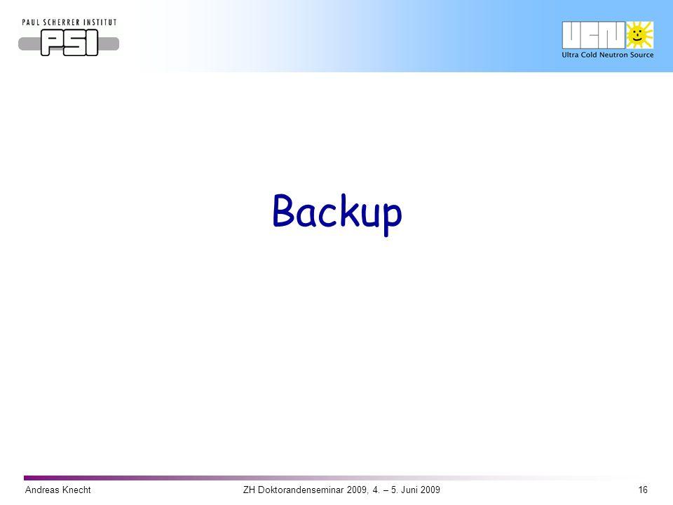 Andreas Knecht16ZH Doktorandenseminar 2009, 4. – 5. Juni 2009 Backup
