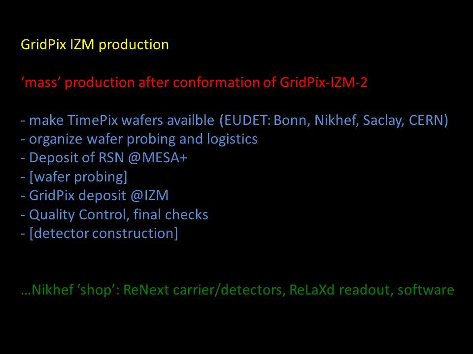GridPix IZM production mass production after conformation of GridPix-IZM-2 - make TimePix wafers availble (EUDET: Bonn, Nikhef, Saclay, CERN) - organi