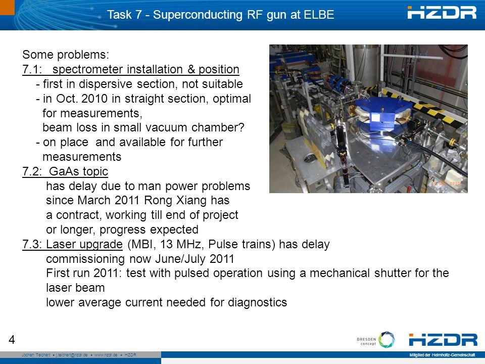 Seite 4 Mitglied der Helmholtz-Gemeinschaft Jochen Teichert j.teichert@hzdr.de www.hzdr.de HZDR 4 Some problems: 7.1: spectrometer installation & position - first in dispersive section, not suitable - in Oct.
