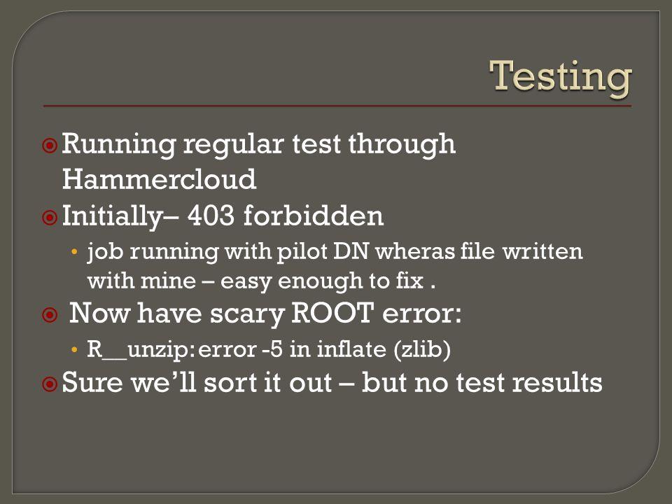 Running regular test through Hammercloud Initially– 403 forbidden job running with pilot DN wheras file written with mine – easy enough to fix.
