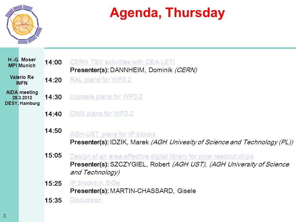 H.-G. Moser MPI Munich Valerio Re INFN Agenda, Thursday AIDA meeting 28.3.2012 DESY, Hamburg 3 14:00 CERN TSV activities with CEA-LETI Presenter(s): D
