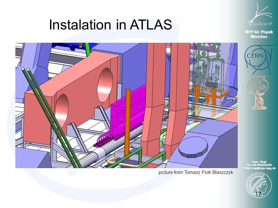 MPP für Physik München Sven.Vogt Tel.:+49 8932354336 E-Mail:vog@mpp.mpg.de 17 Instalation in ATLAS picture from Tomasz Piotr Blaszczyk