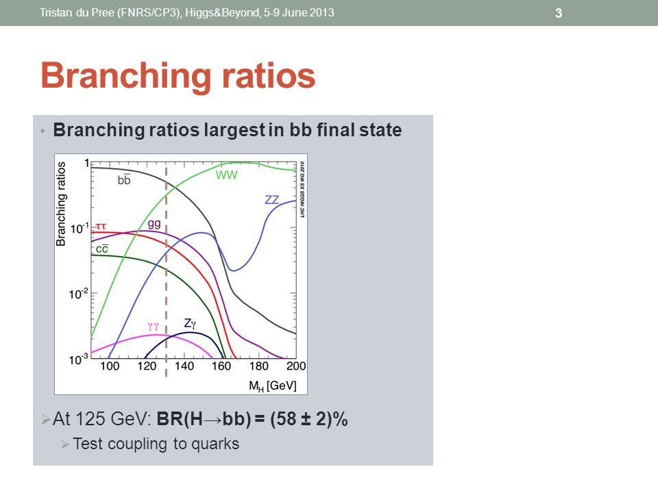 Branching ratios Branching ratios largest in bb final state At 125 GeV: BR(Hbb) = (58 ± 2)% Test coupling to quarks Tristan du Pree (FNRS/CP3), Higgs&