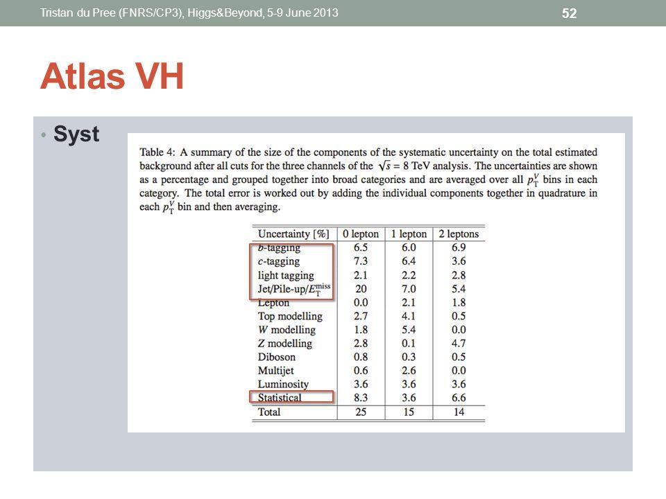 Atlas VH Syst Tristan du Pree (FNRS/CP3), Higgs&Beyond, 5-9 June 2013 52