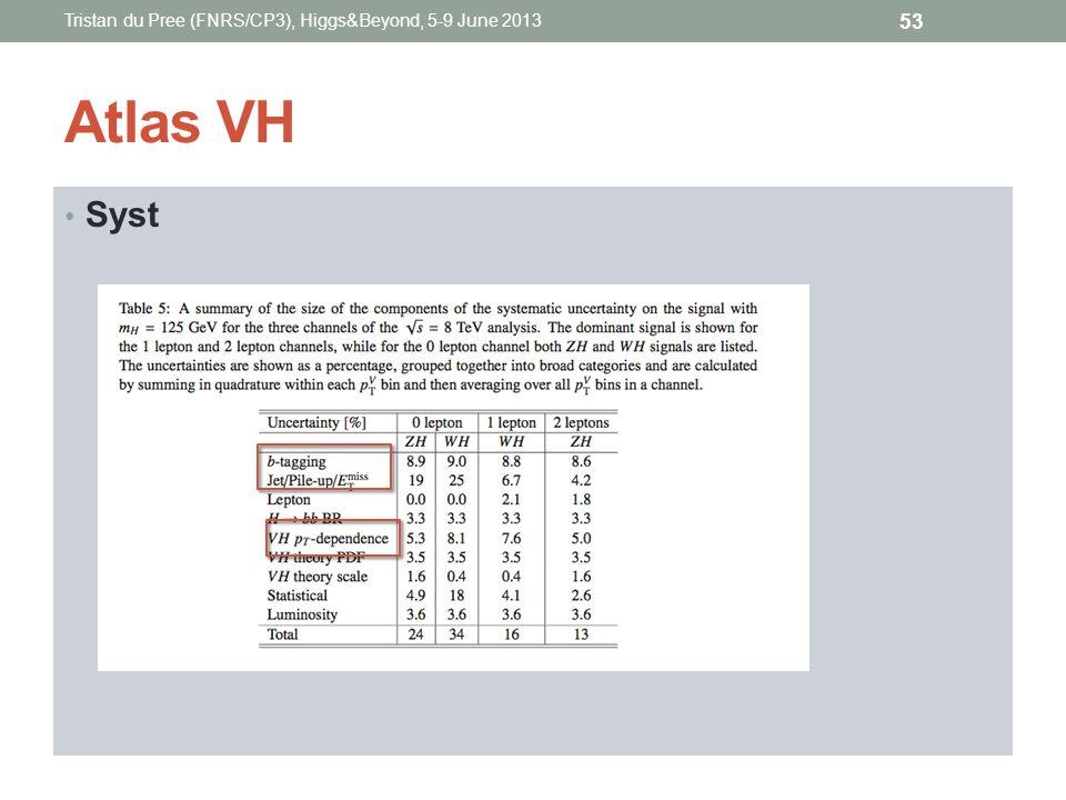 Atlas VH Syst Tristan du Pree (FNRS/CP3), Higgs&Beyond, 5-9 June 2013 53