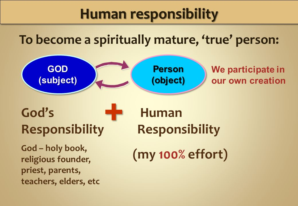 To become a spiritually mature, true person: GOD(subject)Person(object) Gods Responsibility God – holy book, religious founder, priest, parents, teachers, elders, etc Human Responsibility We participate in our own creation + + (my 100% effort)