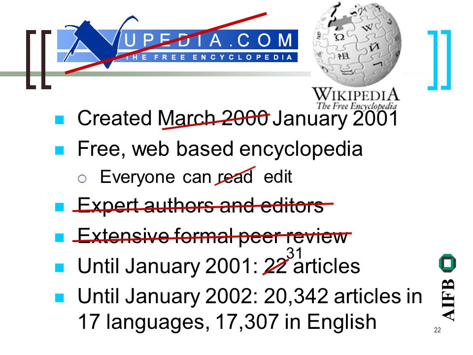 AIFB 22 Created March 2000 Free, web based encyclopedia Everyone can read Expert authors and editors Extensive formal peer review Until January 2001: 22 articles Until January 2002: 20,342 articles in 17 languages, 17,307 in English January 2001 edit 31