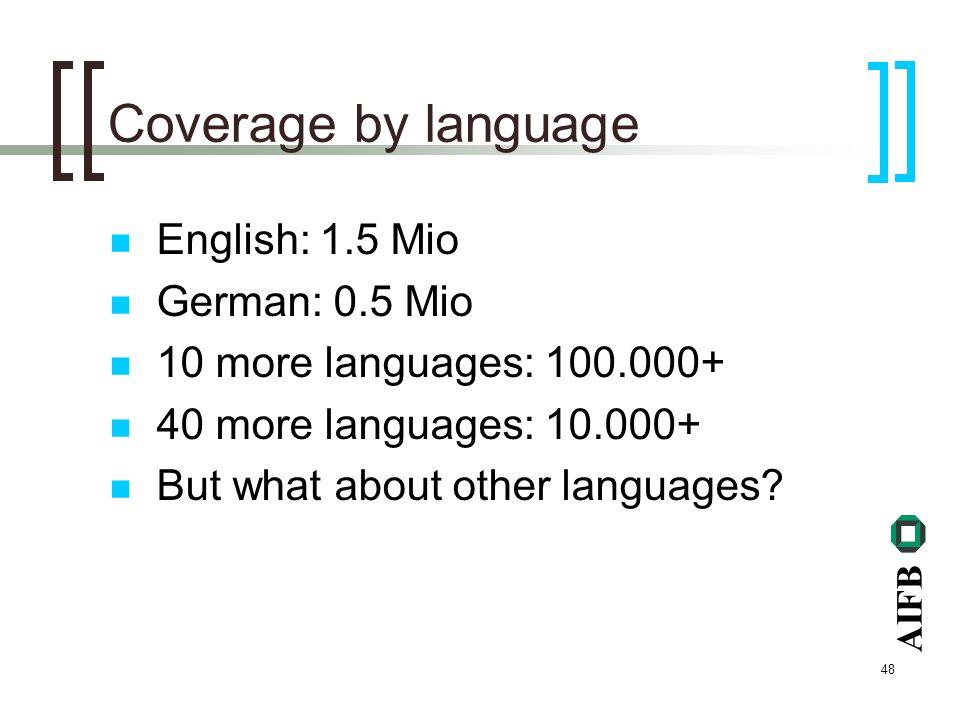AIFB 48 Coverage by language English: 1.5 Mio German: 0.5 Mio 10 more languages: 100.000+ 40 more languages: 10.000+ But what about other languages?