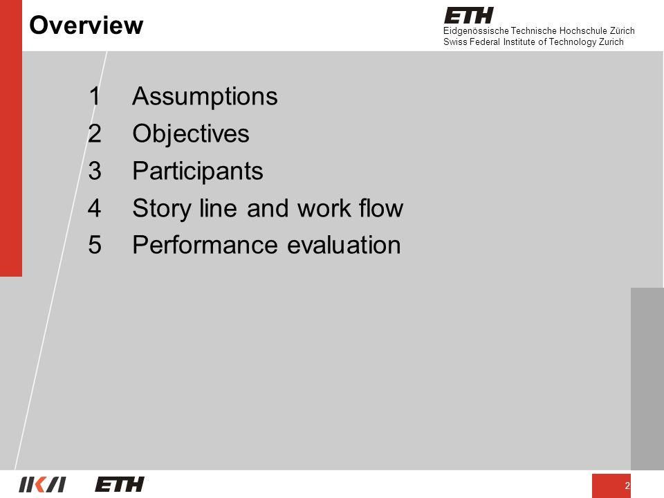 Eidgenössische Technische Hochschule Zürich Swiss Federal Institute of Technology Zurich 2 Overview 1Assumptions 2Objectives 3Participants 4Story line and work flow 5Performance evaluation