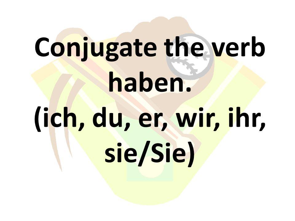 Conjugate the verb haben. (ich, du, er, wir, ihr, sie/Sie)