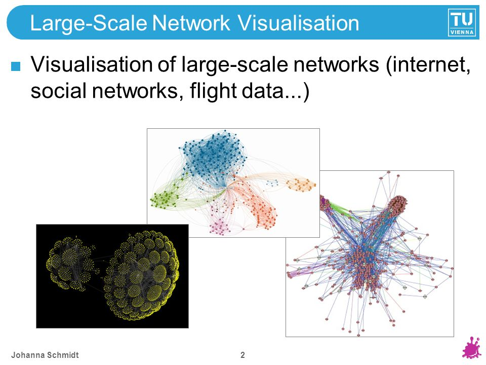 Large-Scale Network Visualisation Visualisation of large-scale networks (internet, social networks, flight data...) Johanna Schmidt 2