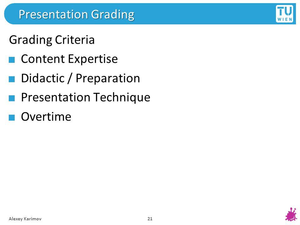 Presentation Grading Grading Criteria Content Expertise Didactic / Preparation Presentation Technique Overtime Alexey Karimov 21