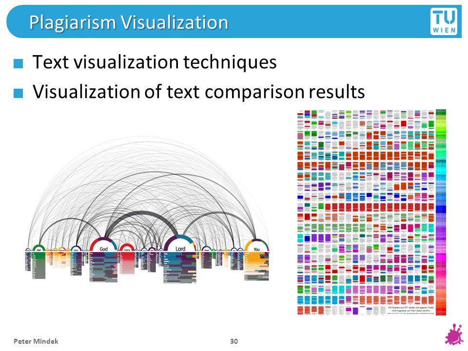 Alexey Karimov Plagiarism Visualization Text visualization techniques Visualization of text comparison results 30 Peter Mindek