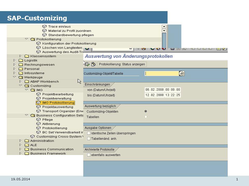 19.05.20141 SAP-Customizing