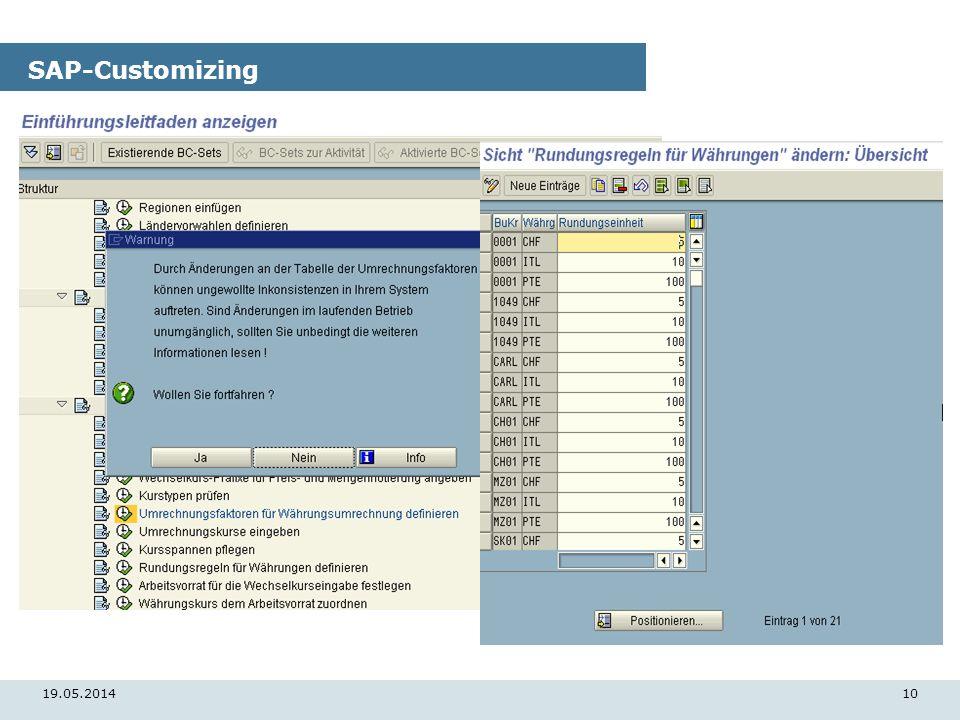 19.05.201410 SAP-Customizing