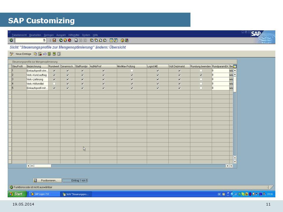 19.05.201411 SAP Customizing
