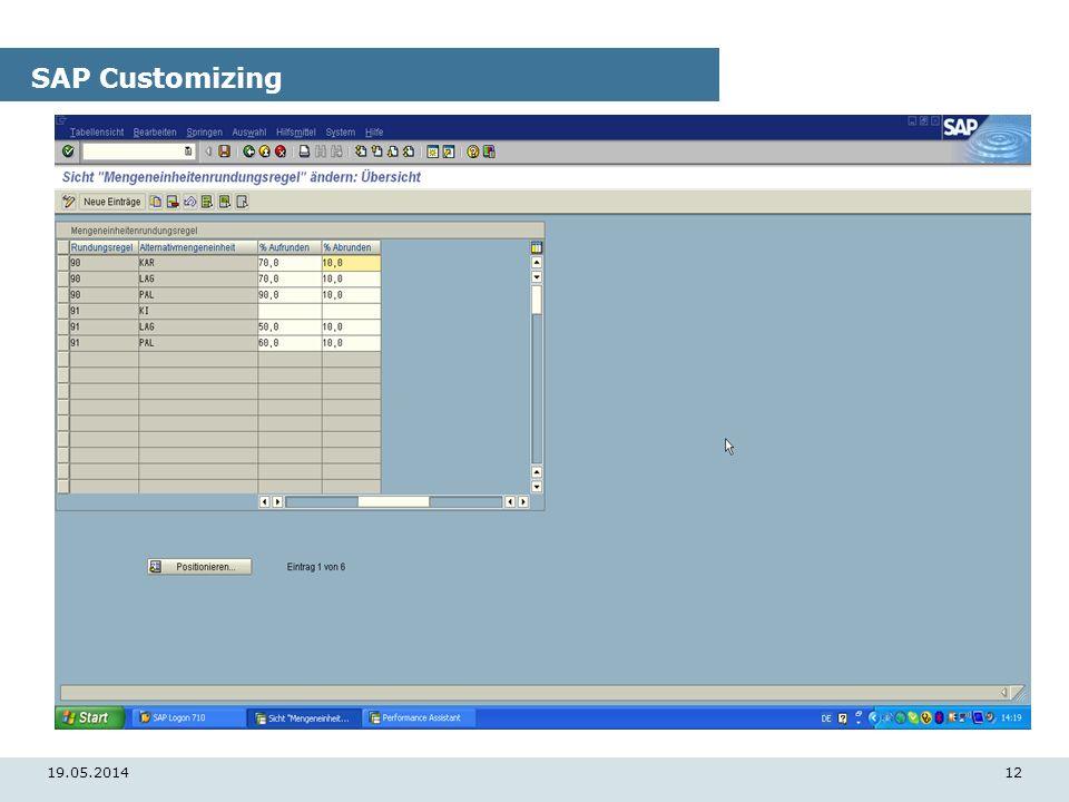 19.05.201412 SAP Customizing