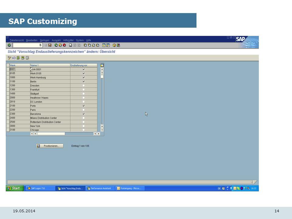 19.05.201414 SAP Customizing