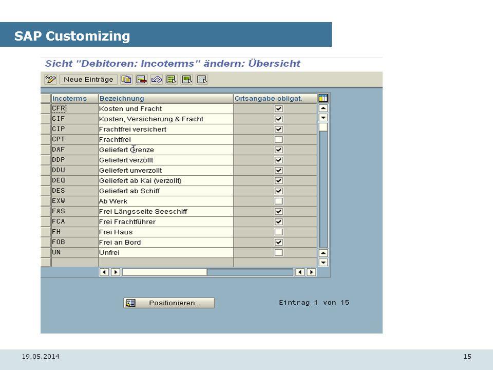19.05.201415 SAP Customizing