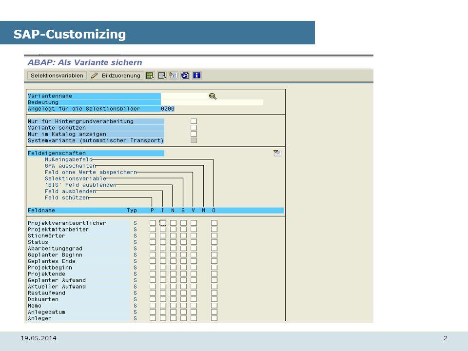 19.05.20142 SAP-Customizing