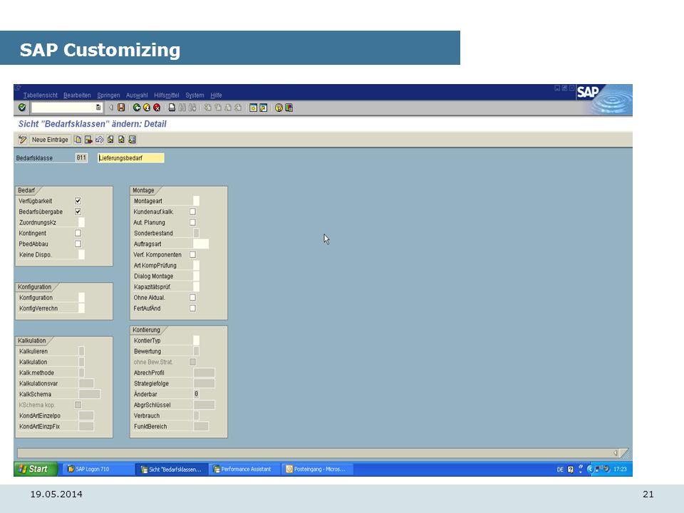 19.05.201421 SAP Customizing