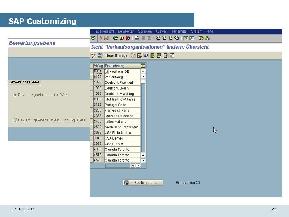 19.05.201422 SAP Customizing