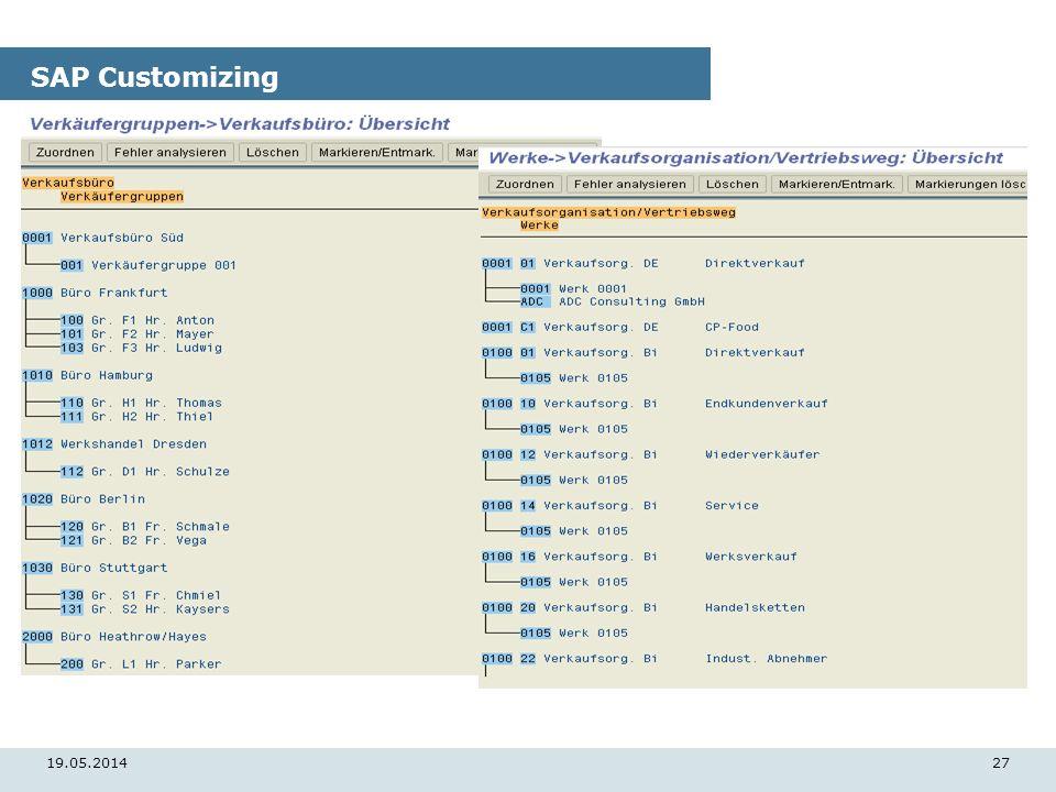19.05.201427 SAP Customizing