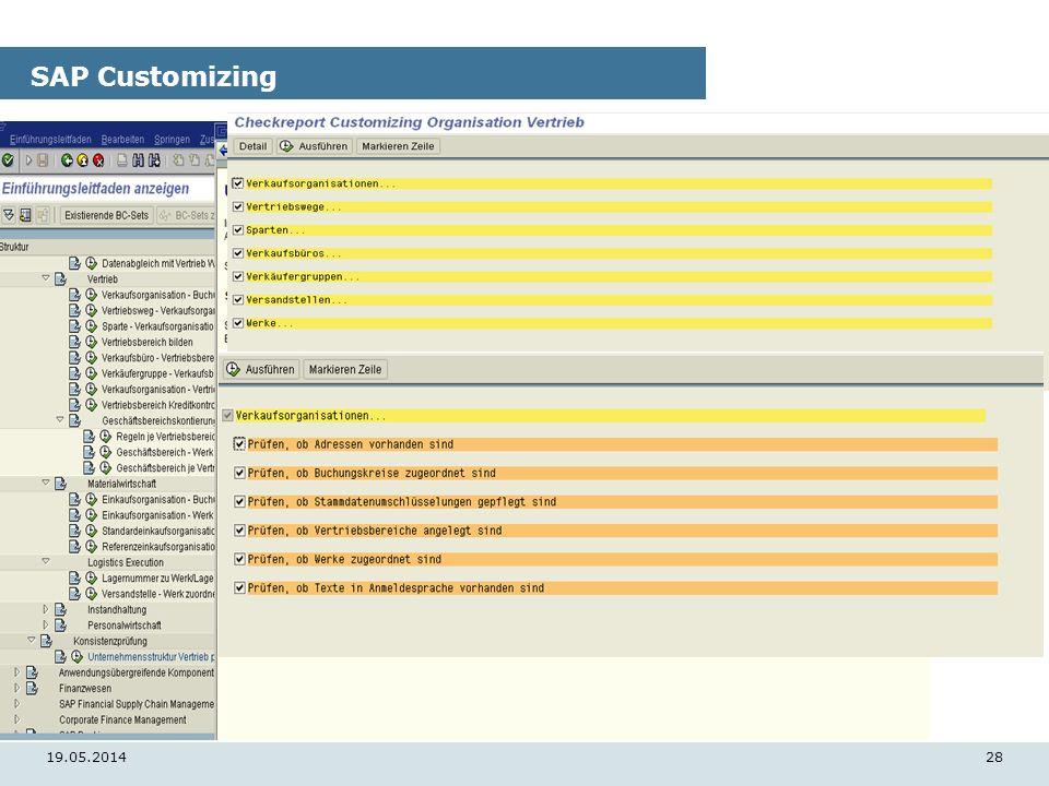 19.05.201428 SAP Customizing