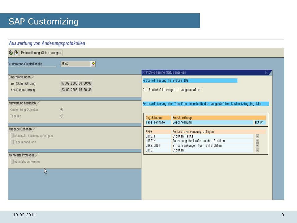 19.05.20143 SAP Customizing
