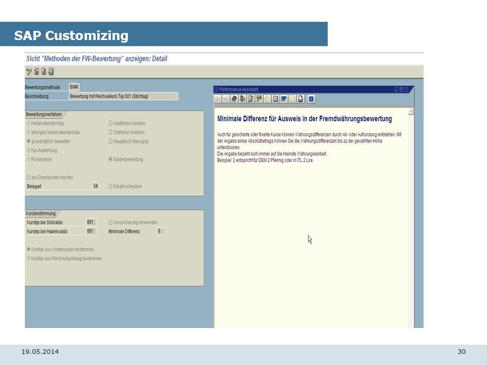 19.05.201430 SAP Customizing