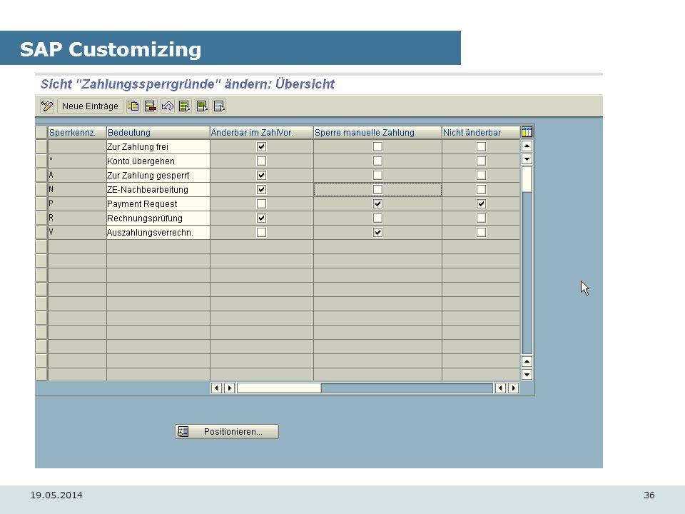 19.05.201436 SAP Customizing