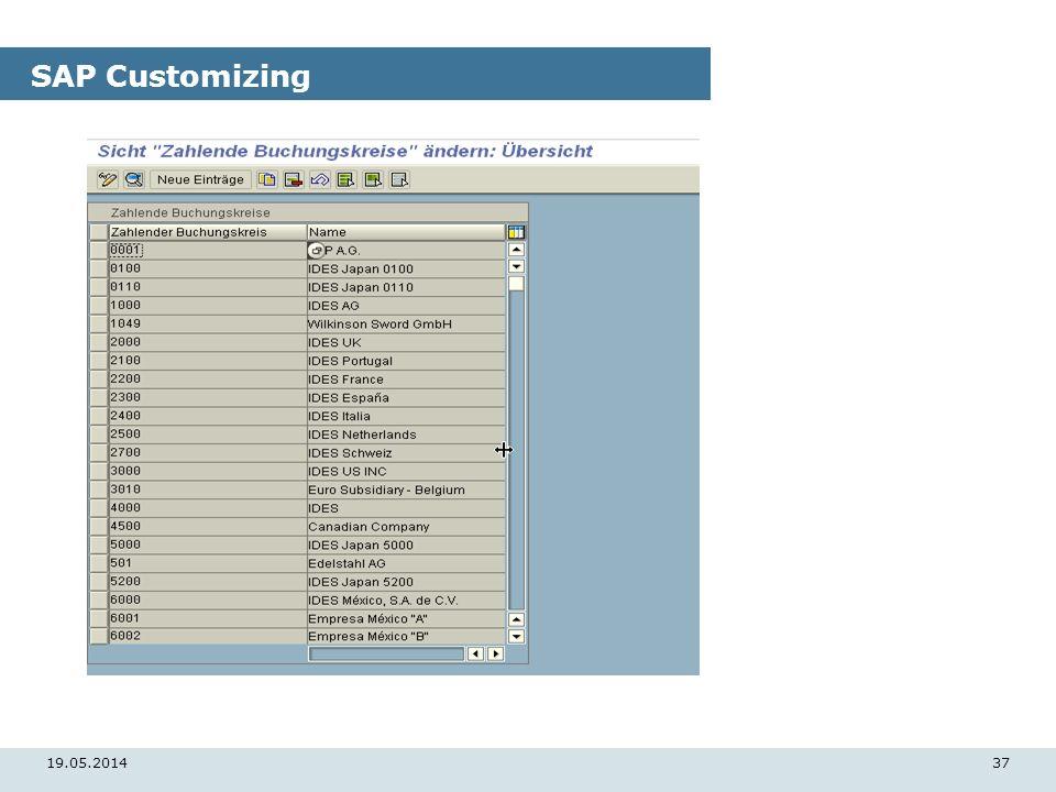 19.05.201437 SAP Customizing