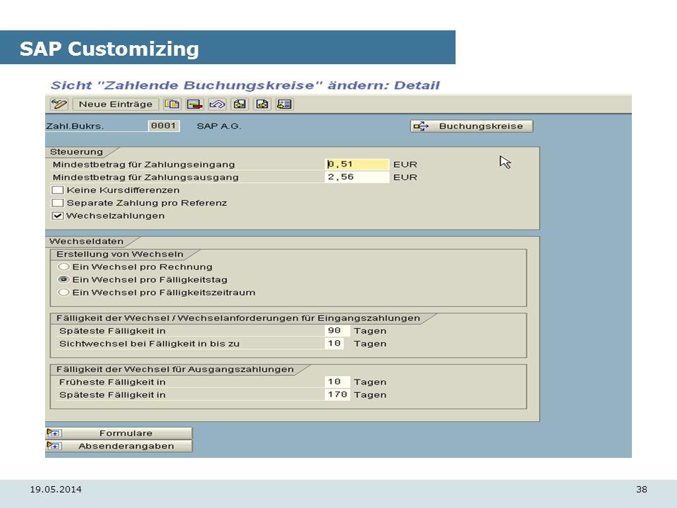 19.05.201438 SAP Customizing