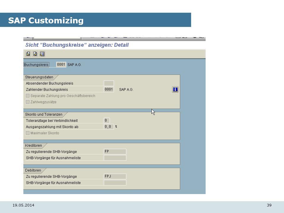 19.05.201439 SAP Customizing