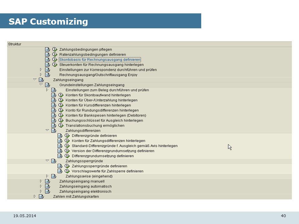 19.05.201440 SAP Customizing