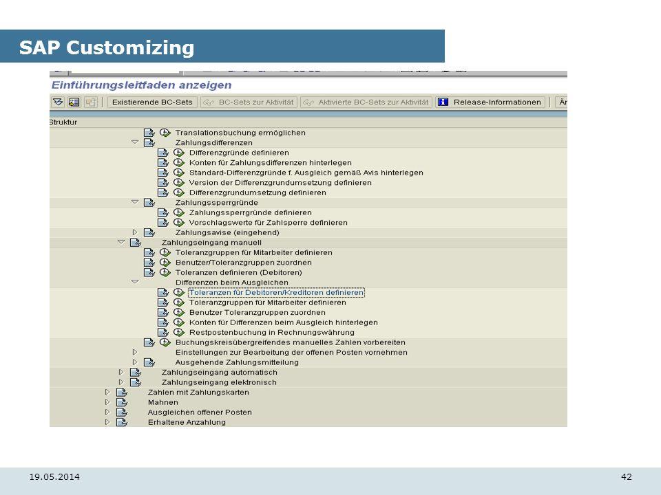 19.05.201442 SAP Customizing