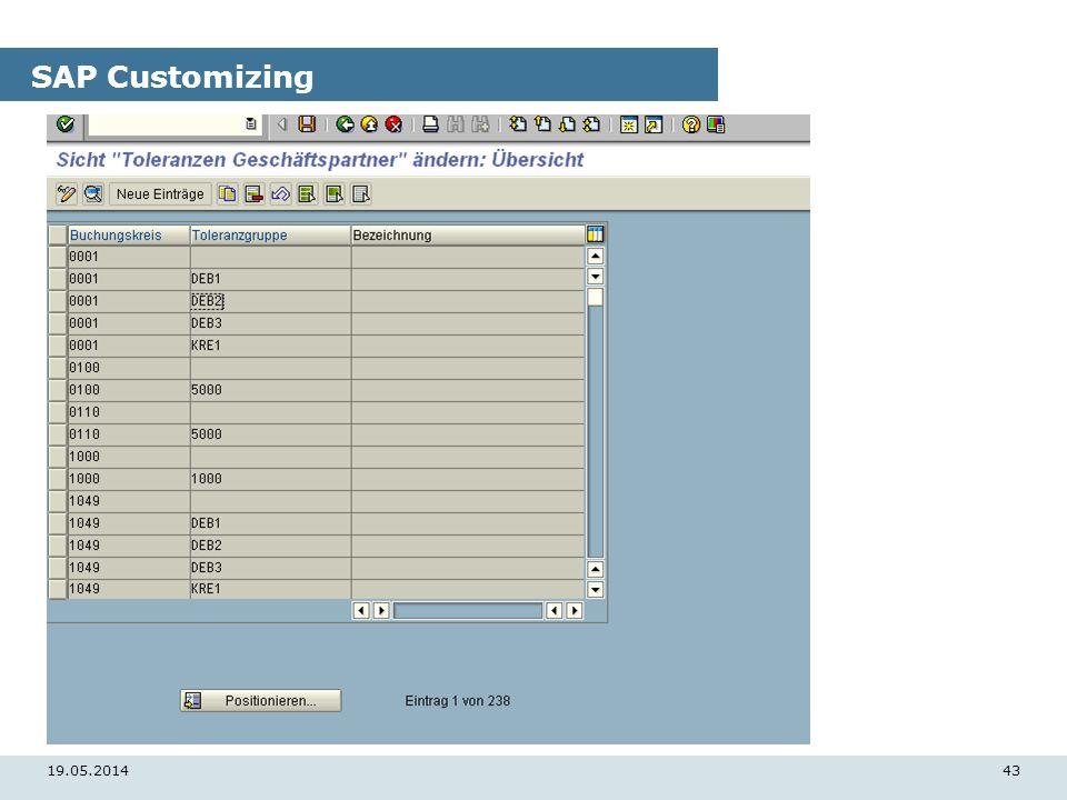 19.05.201443 SAP Customizing