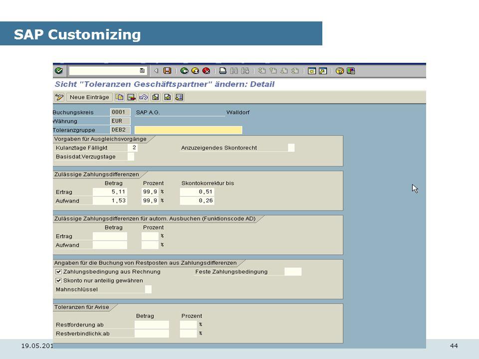 19.05.201444 SAP Customizing