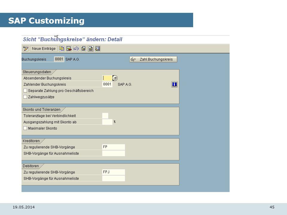 19.05.201445 SAP Customizing