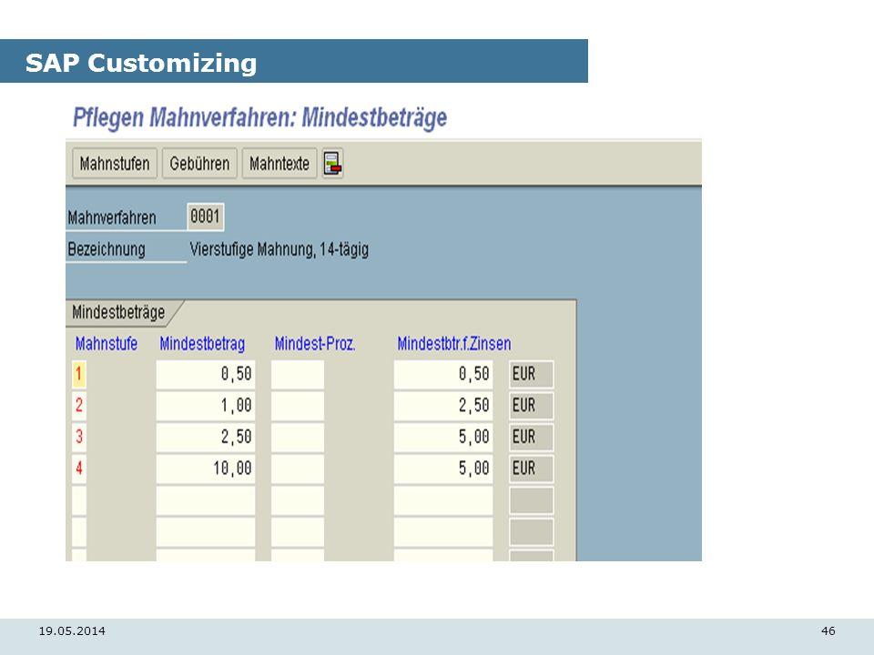 19.05.201446 SAP Customizing