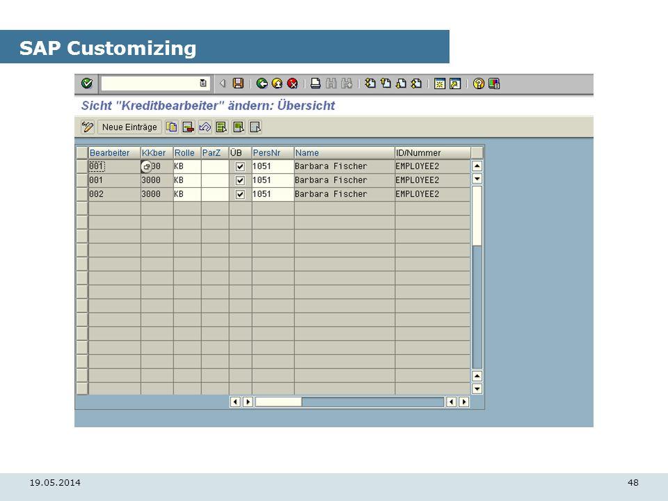 19.05.201448 SAP Customizing