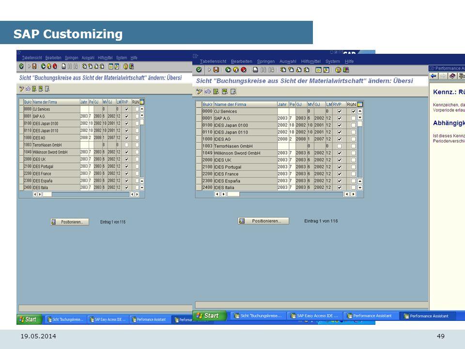 19.05.201449 SAP Customizing
