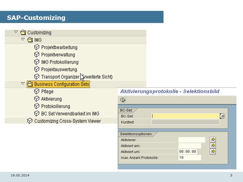 19.05.20145 SAP-Customizing