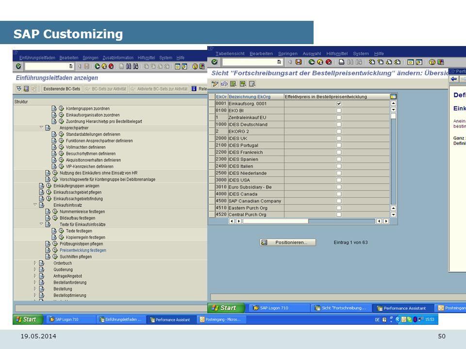 19.05.201450 SAP Customizing