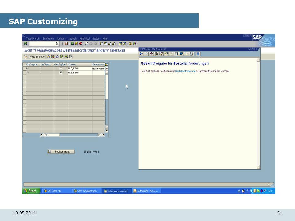19.05.201451 SAP Customizing